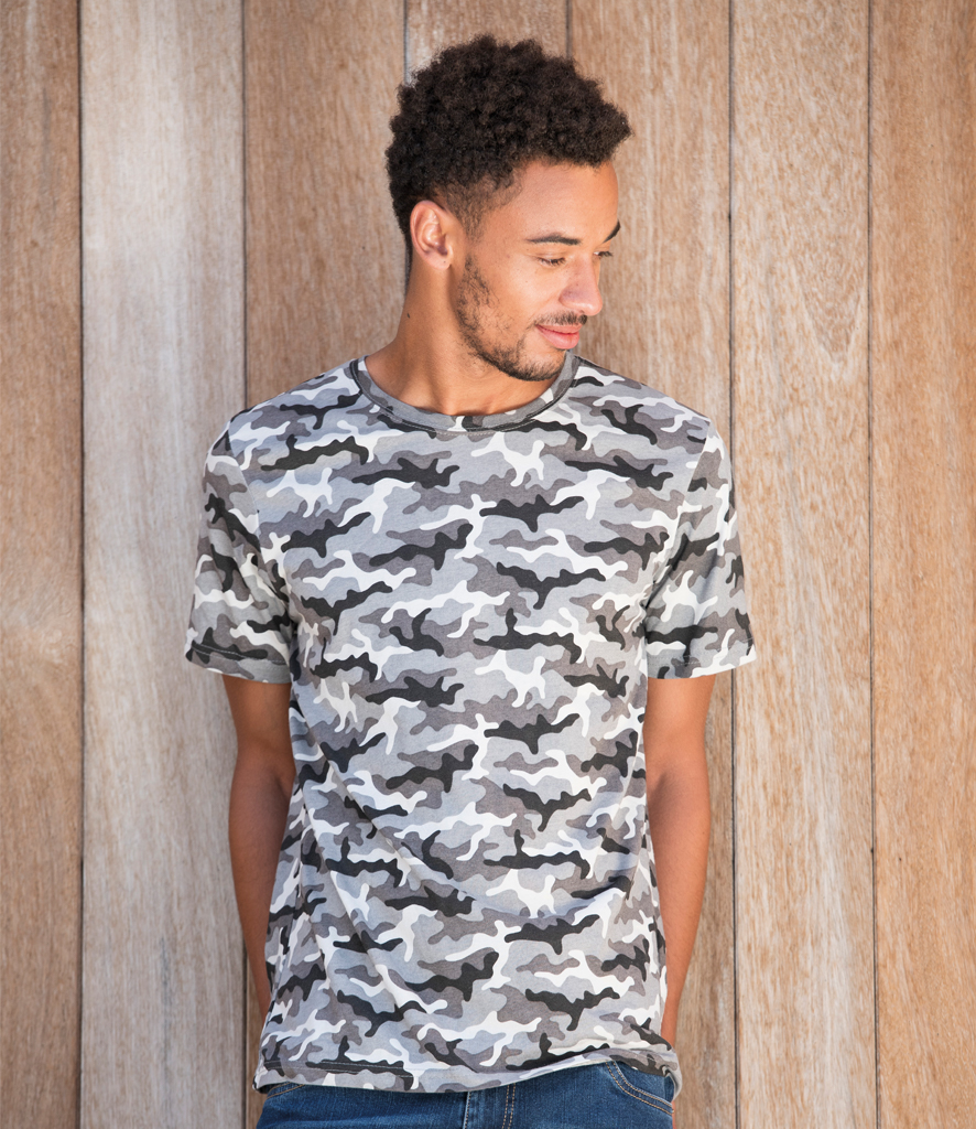 AWDis Men/'s Camouflage HOODIE in Soft Cotton-Faced Fabric with Colour Choices